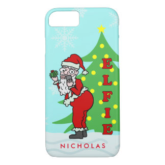 Funny Christmas Santa Elfie Personalized iPhone 7 Case