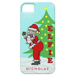 Funny Christmas Santa Elfie Personalized iPhone SE/5/5s Case