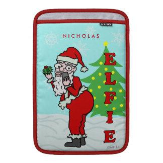 Funny Christmas Santa Elfie Personalized MacBook Air Sleeve
