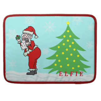 Funny Christmas Santa Elfie Personalized Sleeve For MacBook Pro