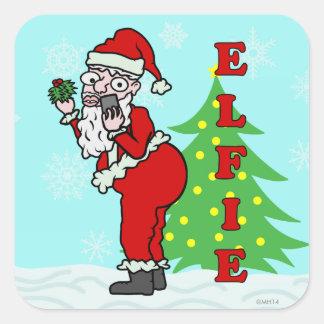 Funny Christmas Santa Elfie Square Sticker