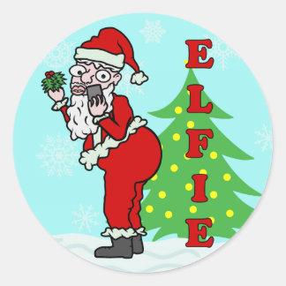 Funny Christmas Santa Elfie Round Sticker