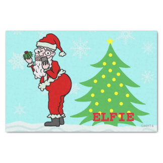 Funny Christmas Santa Elfie Tissue Paper