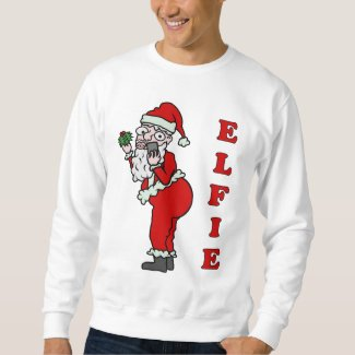 Funny Christmas Santa Elfie Ugly Holiday Sweatshirt