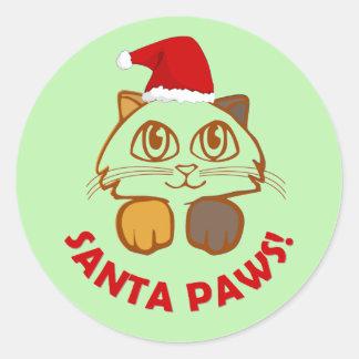 Funny christmas 'Santa Paws' cat Classic Round Sticker