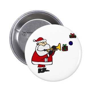 Funny Christmas Santa Playing Trumpet Button