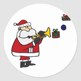 Funny Christmas Santa Playing Trumpet Classic Round Sticker