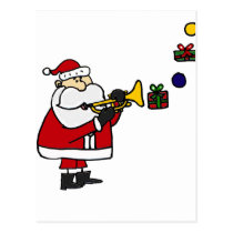 Funny Christmas Santa Playing Trumpet Postcard