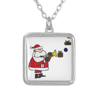 Funny Christmas Santa Playing Trumpet Silver Plated Necklace