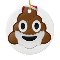 Funny Christmas Santa Poop Emoji Ceramic Ornament