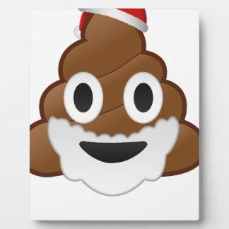 Funny Christmas Santa Poop Emoji Plaque