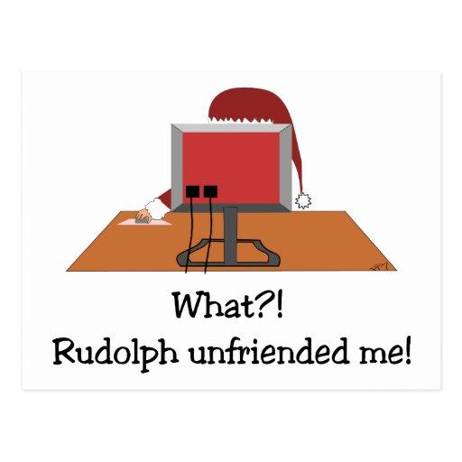 Funny Christmas - Santa Unfriended by Rudolph Postcard