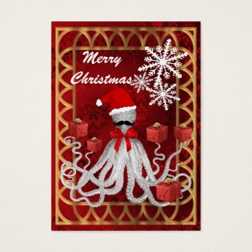 Christmas Themed Funny Christmas Santa vintage steampunk octopus Business Card