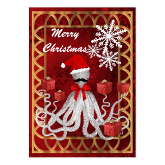 Funny Christmas Santa vintage steampunk octopus Large Business Card