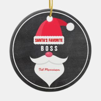 Funny Christmas Santa's Favorite Boss Custom Ceramic Ornament