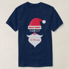 Funny Christmas Santa's Favorite Family Custom T-Shirt