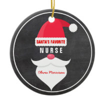 Funny Christmas Santa's Favorite Nurse Custom Ceramic Ornament