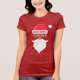 funny christmas santas favorite teacher custom t shirt