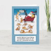 Funny Christmas: Santa's Sleigh Cats Holiday Card