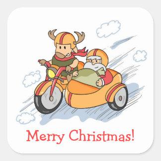 Funny Christmas, Santa's sleigh upgraded Square Sticker