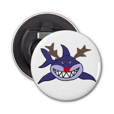 Beach Themed Funny Christmas Shark Reindeer Bottle Opener