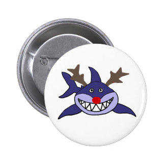Funny Christmas Shark Reindeer 2 Inch Round Button