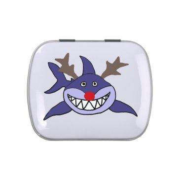 Beach Themed Funny Christmas Shark Reindeer Candy Tins