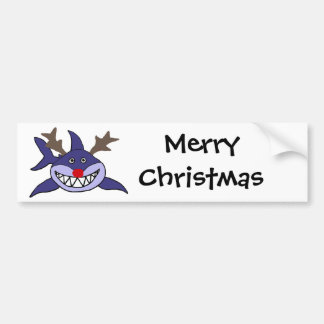 Funny Christmas Shark Reindeer Car Bumper Sticker