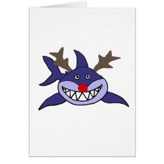 Funny Christmas Shark Reindeer Card