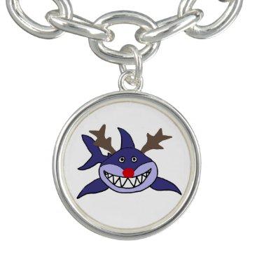 Beach Themed Funny Christmas Shark Reindeer Charm Bracelets
