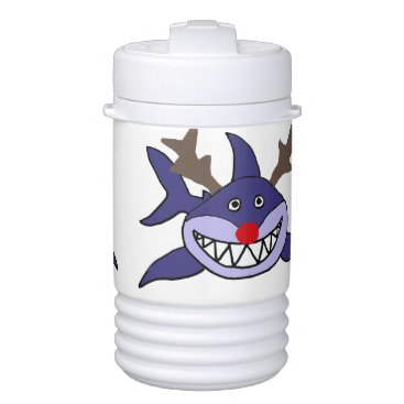 Beach Themed Funny Christmas Shark Reindeer Cooler