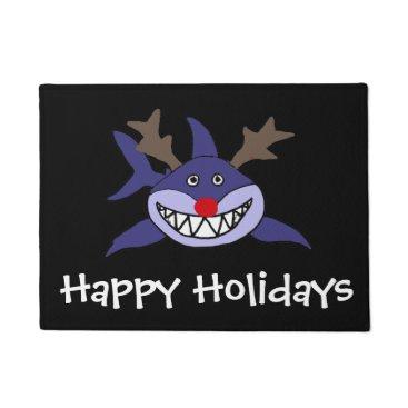 Beach Themed Funny Christmas Shark Reindeer Doormat
