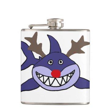 Beach Themed Funny Christmas Shark Reindeer Flask