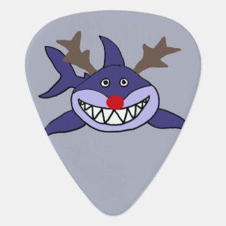 Funny Christmas Shark Reindeer Guitar Pick