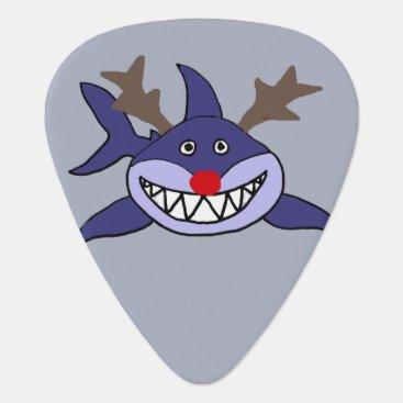 Beach Themed Funny Christmas Shark Reindeer Guitar Pick