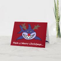 Funny Christmas Shark Reindeer Holiday Card