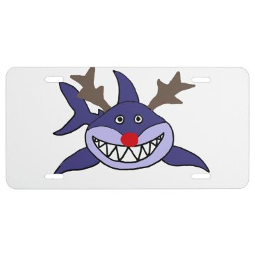 Beach Themed Funny Christmas Shark Reindeer License Plate