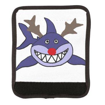 Beach Themed Funny Christmas Shark Reindeer Luggage Handle Wrap