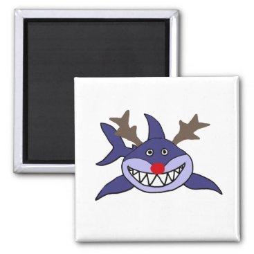 Beach Themed Funny Christmas Shark Reindeer Magnet