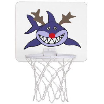 Beach Themed Funny Christmas Shark Reindeer Mini Basketball Backboard
