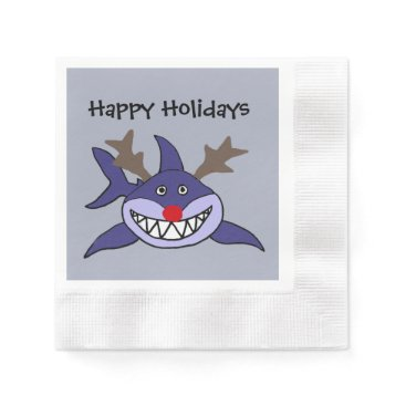 Beach Themed Funny Christmas Shark Reindeer Napkin