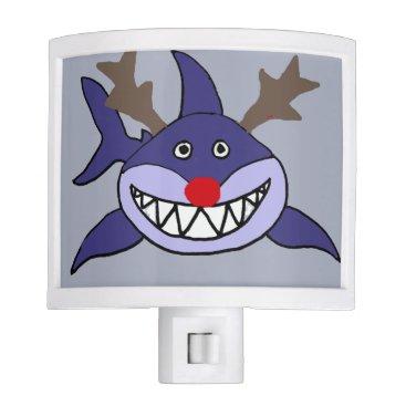 Beach Themed Funny Christmas Shark Reindeer Night Light