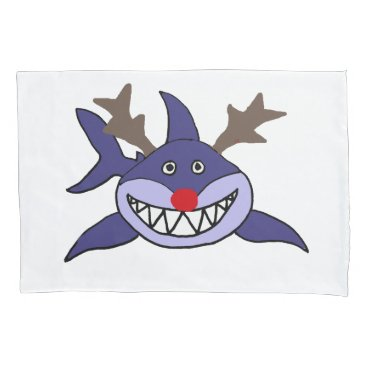 Christmas Themed Funny Christmas Shark Reindeer Pillow Case