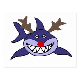 Funny Christmas Shark Reindeer Postcard