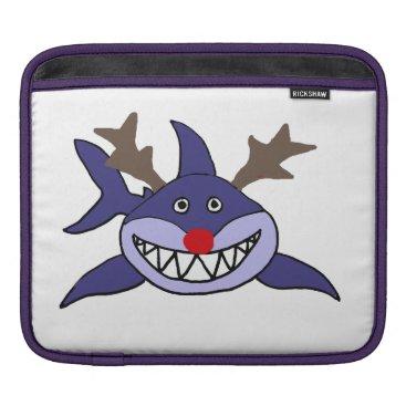 Beach Themed Funny Christmas Shark Reindeer Sleeve For iPads