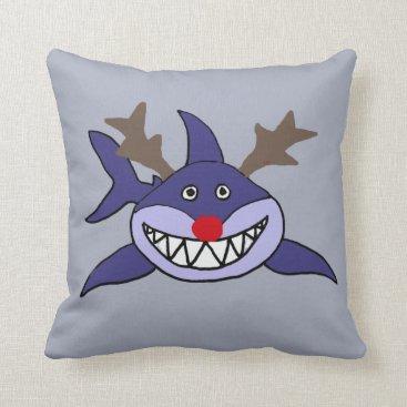 Beach Themed Funny Christmas Shark Reindeer Throw Pillow