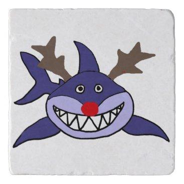 Beach Themed Funny Christmas Shark Reindeer Trivet