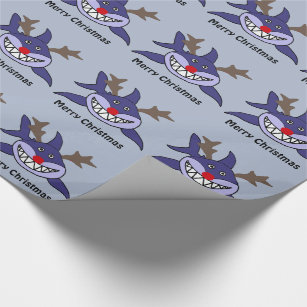 funny christmas shark reindeer wrapping paper - Funny Christmas Wrapping Paper