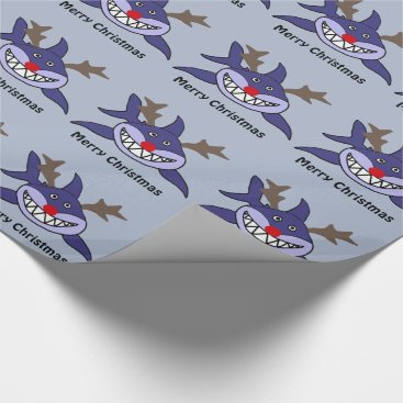 Beach Themed Funny Christmas Shark Reindeer Wrapping Paper