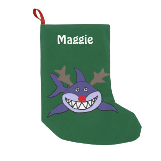 Funny Christmas Shark with Red Nose Small Christmas Stocking